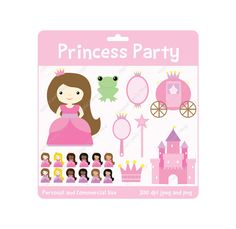 Princess Party Clipart INSTANT DOWNLOAD Design Elements Digital Scrapbook