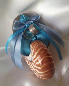 Beach Wedding Tiger Nautilus Shell Ring Bearer Pillow with Blue Hues by JsWorldOfWonder, $38.00