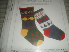"""*36 Christmas Stockings for our Furry Friends - $1.00 plus postage (1 available) Stocking in DK weight or worsted weight yarn. Finished Measurement: 18"""" x 6"""". Needles: #6 (16"""") Circulars, #6 dpn, stitch holders, yarn needle."""
