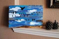 Birds on a Wire Original Painting on Reclaimed by rusticcarvings
