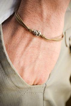 Skull bracelet, men's bracelet with a silver skull charm and a black cord, bracelet for men, gift for him, skeleton, causal jewelry, beach