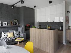 Aneks kuchenny z salonem: modny szary kolor