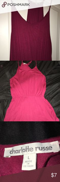 Charlotte Russe Maroon romper!! super cute and the material is so soft! It looks pink in some pictures that I took with flash but it is a very pretty maroon. Elastic waste band that stretches and it goes in at the waist which is super flattering! Charlotte Russe Dresses