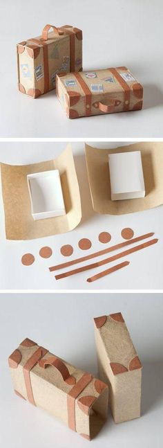 "Spice up a rectangular gift wrap by turning it into a ""suitcase"" ..."
