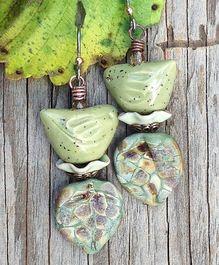 Green Speckled Birds Earrings by Toni McCarthy