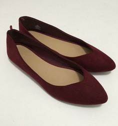 0d030427232 NEW size 9 Old Navy faux suede shoes burgundy cranberry pointed toe ballet  flat  oldnavy