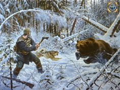A painting of bear hunting in the Siberian outback Cowboy Pictures, Hunting Pictures, Bear Hunting, Hunting Art, Mountain Man, West Art, Cowboy Art, Le Far West, Outdoor Art