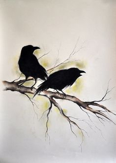 Original Crow Drawing Charcoal Drawing Ravens on a Branch Large Gothic Art 27''x20''