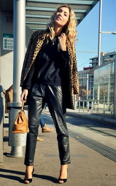 www.streetstylecity.blogspot.com Fashion inspired by the people in the street ootd look outfit sexy heels legs woman girl leather pants Leother baggy leather trousers, barcelona, blonde, hermes, hermes birkin, leather pants, leopard, leopard print, mango, manolo blahnik, mercedes maya, model, ootd, themidniteblues . fashion blogger. streetstyle, vintage - The Midnite Blues
