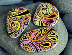 Happy Hippie Rock Magnets / set of 3 /Sandi Pike Foundas / Cape Cod via Etsy