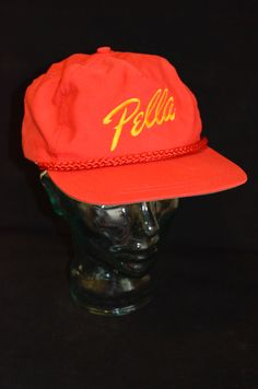 Vintage Pella Window and Doors Red   Yellow Snapback Baseball Cap Hat (One  Size Fits ce1423626dfe