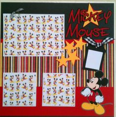 Mickey Mouse 12x12 premade scrapbook layout page by ohioscrapper, $15.00