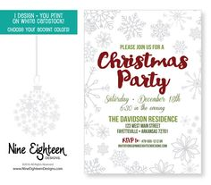 Christmas Party invitation. Snowflakes. I by NineEighteenHolidays