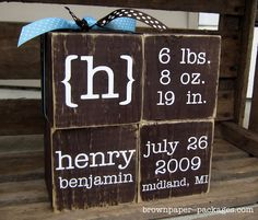personalized baby blocks...TOO cute. I love this idea!