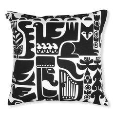 Kanteleen Cushion cover 50x50 cm, White/Black, Marimekko