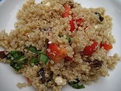 Confetti Quinoa  My favorite quinoa recipe. (The picture doesn't do it credit.)  I double the dressing for this recipe and also put in more basil. If you have some kalamata olives, they are yummy, too.