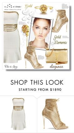"""""""Gold Elements"""" by stranjakivana ❤ liked on Polyvore featuring Hervé Léger, Gianvito Rossi, Yves Saint Laurent and Valentino"""