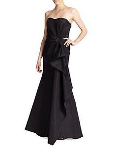 Carolina Herrera - Icon Collection Silk Falle Draped Gown