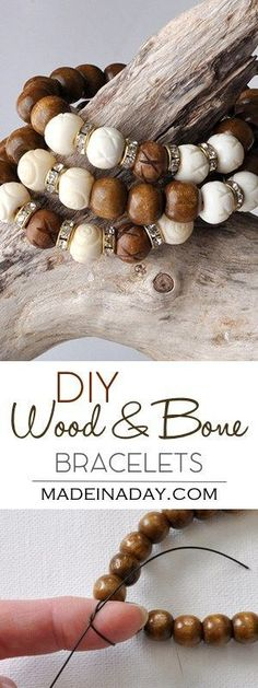 DIY Jewelry DIY Holz Weiß Knochen Armband DIY Schmuck How to remove a double hung wood window Articl Diy Jewelry Making, I Love Jewelry, Bracelet Making, Fine Jewelry, Simple Jewelry, Fashion Bracelets, Jewelry Bracelets, Pandora Bracelets, Jewlery