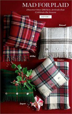 Christmas Tartan Plaid Decor / Pillows 4 in RED plaid please! All Things Christmas, Christmas Holidays, Christmas Crafts, Christmas Decorations, Holiday Decor, Xmas, Tartan Christmas, Rustic Christmas, Christmas Cushions
