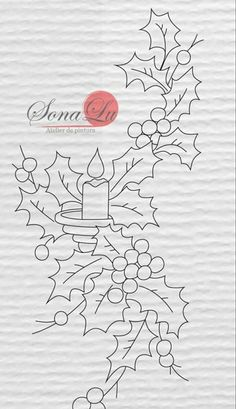 T T holly candle christmas colouring page Christmas Colors, Christmas Art, Christmas Projects, Christmas Ornaments, Xmas, Hand Embroidery Patterns, Applique Patterns, Embroidery Stitches, Christmas Drawing