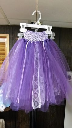 Tutu made from purple tulle from bridal shower ribbon