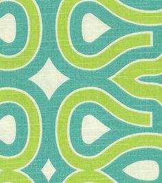 Slubby weave softens crisp graphics. (HGTV Turtle Shell home dec print fabric in Turquoise)