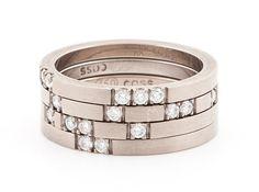 Roma ring   Cass Partington, 18ct white gold, diamonds - obrączki z białego złota z brylantami