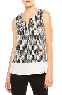 Offering an on-trend layered look with the ease of one piece, a solid woven panel peeks from the hem of a tweedy chevron-knit shell and is styled with an attractive notched neckline. Layered Look, Work Attire, Casual Chic, Spring Outfits, Work Wear, Cute Outfits, Work Outfits, How To Look Better, What To Wear