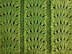 Fan flare Knitted in a multiple of 11 sts + 2 and a 6-row repeat. Row 1 - Right side: P2, * k2tog, (yo, k1) 5 times, yo, ssk, p2; repeat from * to end. Row 2: K2, * p13, k2; repeat from * to end. Row 3: P2, * k2tog, k9, ssk, p2; repeat from * to end. Row 4: K2, * p11, k2; repeat from * to end. Row 5: P2, * k2tog, k7, ssk, p2; repeat from * to end. Row 6: K2, * p9, k2; repeat from * to end.