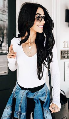 #spring #outfits white top, black jeans,denim jacket