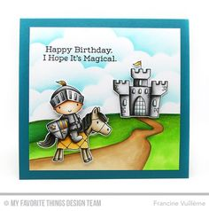 Knight In Shining Armor Stamp Set, Once Upon a Time Stamp Set, Stitched Cloud Edges Die-namics - Francine Vuillème #mftstamps