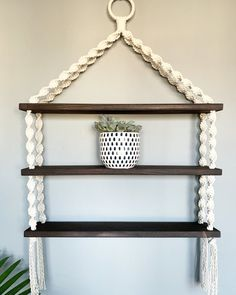Extra Large Macrame Triple Hanging Shelf -- Perfect for succulents, knick-knacks, spices, baby nurseries & more! // SIZING // Please note that sizing is approximate: Height from top of ring to bottom of fringe: 36 Macrame Wall Hanging Patterns, Macrame Plant Hangers, Macrame Patterns, Doll Patterns, Quilt Patterns, Macrame Design, Macrame Art, Macrame Knots, Micro Macrame