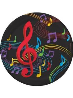 Dancing Music Notes Dinner Plates A large red treble clef accents the musical notes. Music Notes Art, Music Pics, Music Images, Music Stuff, Pintura Hippie, Music Machine, Music Symbols, Music Drawings, Pop Rock