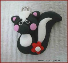 NEW Polymer Clay Charm Skunk by michellesclaybeads on Etsy