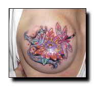 A beautiful dragonfly #mastectomy tattoo collaborating a breast cancer ribbon