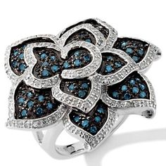 """1.03ct Blue Diamond and White Diamond Sterling Silver """"Flower"""" Ring at HSN.com."""