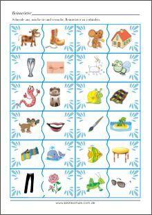 Reimwörter Bildkarten - Lernkarten für die Vorschule und die Grundschule