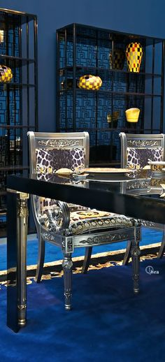 Versace Home- #LadyLuxuryDesigns Blue and Gold. The most luxurious pieces and ambiences you ever seen are at www.homedesignideas.eu