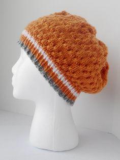 Hand knit orange hat, orange eyelet slouch, orange tam hat