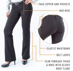 Boot-Cut work appropriate Dress Pants Yoga Pants spec image