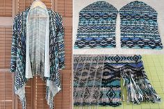 It only takes 30 minutes to create an easy DIY fringe cardigan and all you need is 1 1/2 yards of knit fabric.