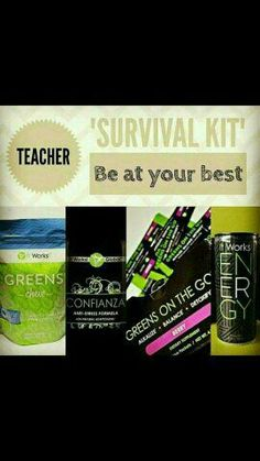 Attention teachers! Get your survival kit to help keep you healthy thus year! Greens to help you stay healthy Confianza to help with stress Energy to get you through those long tiring days! fordhannah.itworks.com