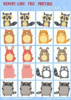 ANIMALS - #MEMORY #GAME FREE PRINTABLES / #PRESCHOOL