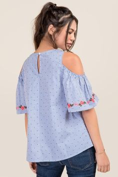 3f8cf049b7ced Hannah Dotted Striped Cold Shoulder Top
