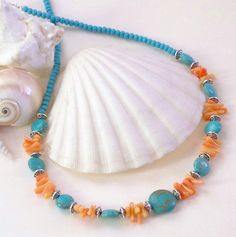 Boho Turquoise & Coral Necklace, Tibetan Style Boho Necklace, Boho Beach Necklace