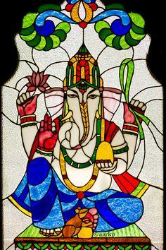 Glass painting of Sri Ganesha