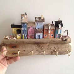 Special commission key holder inspired by houses at Alnmouth Northumberland. Wooden Art, Wooden Crafts, Beach Crafts, Diy And Crafts, Ceramic Houses, Wooden Houses, Driftwood Crafts, Miniature Houses, Wood Toys