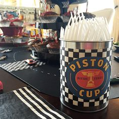 DIY Piston Cup Cutlery Can: CARS Themed Birthday Party | Disney Baby