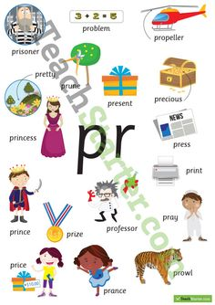 Teaching Resource: A poster showing words and pictures for pr blends. Phonics Chart, Phonics Blends, Phonics Rules, Jolly Phonics, Multiplication Chart, Teaching Vocabulary, Teaching The Alphabet, Teaching Kids, Blends Worksheets